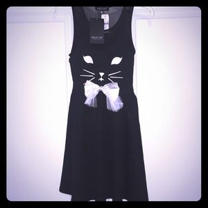 Mie Eion Black Sheer Cat Dress Size Small NWT